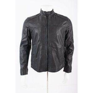 Massimo Dutti Men Bomber Jacket Biker Coat Leather